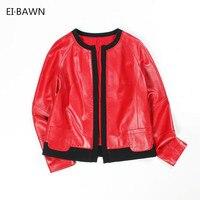 2018 New Arrival Women Jacket Genuine Leather Black Red Round Neck Long Sleeve Sheepskin Ladies Coat Fashion Design Fashion