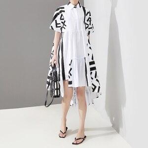 Image 2 - Новинка 2020, корейский стиль, женское летнее стильное белое платье рубашка миди с геометрическим принтом, женское Повседневное платье размера плюс, Robe Femme 5114