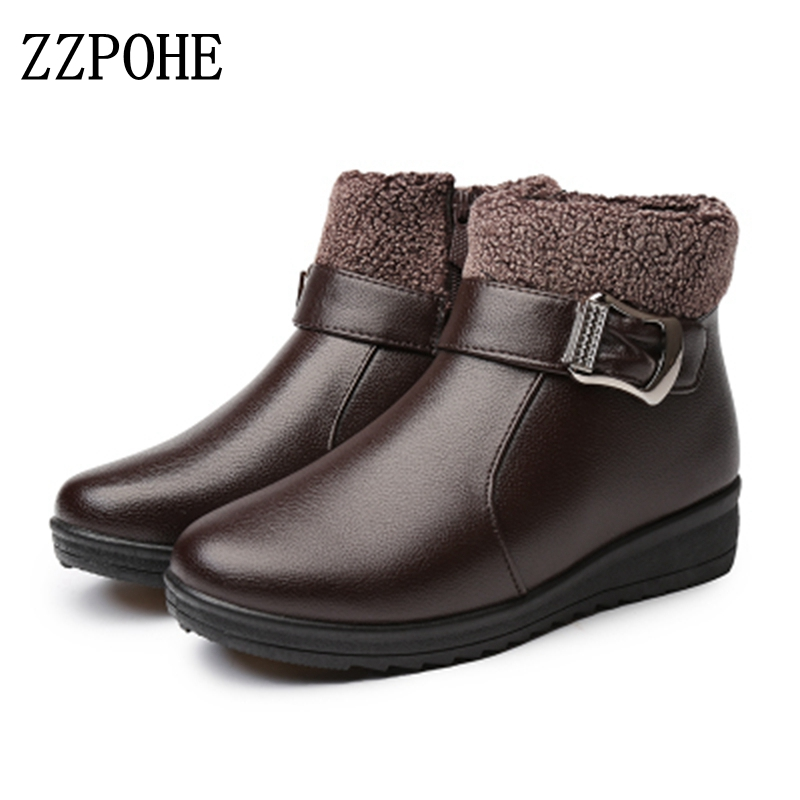 ZZPOHE Winter women ankle boots Fashion Pu Leather Casual Warm comfortable Mother snow boots Grandmother Slip