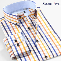 Korea Style 100 Cotton New Autumn Summer Mens Dress Shirts Plaid Long Sleeve Casual Men Shirt