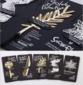 4 шт. золотой ключ перо дерево посеребренная закладки с кожаным ремешком психического закладки для книг скрепки неподвижно-подарков