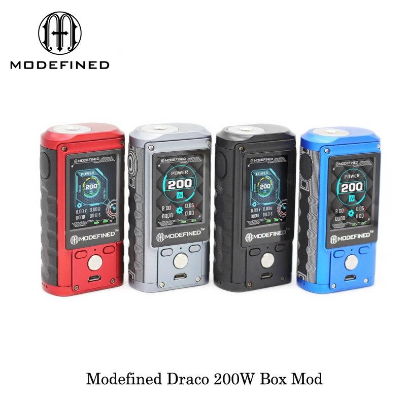 Perdue d'origine Vaporisateur Modefined Draco 200 W Boîte Mod cigarettes électroniques double 18650 vaporisateur vaporisateur VS Smok Alien Mod Boîte 510 fil