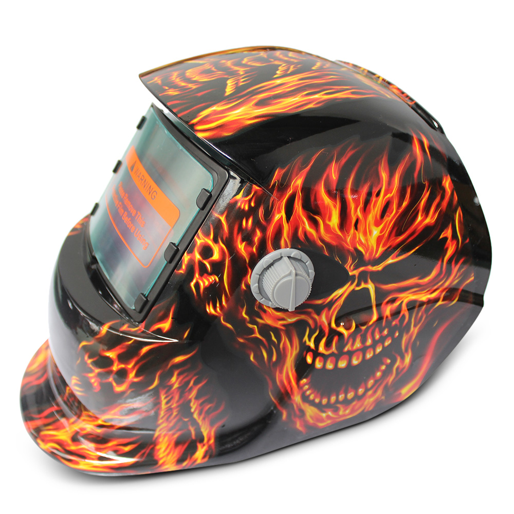 все цены на Solar Energy Automatic Changeable Light Electric Welding Protective Helmet with Skull Pattern онлайн