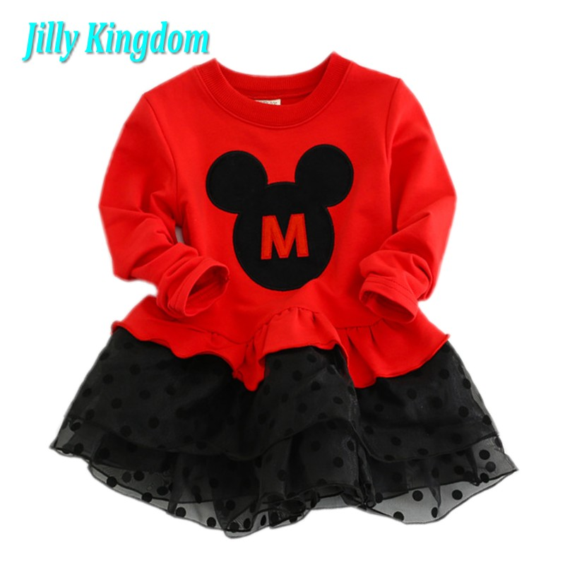 Kids Girls clothes New 2017 Long sleeve spring and Autumn Bow baby ball gown girl dress cute minni dot princess christmas