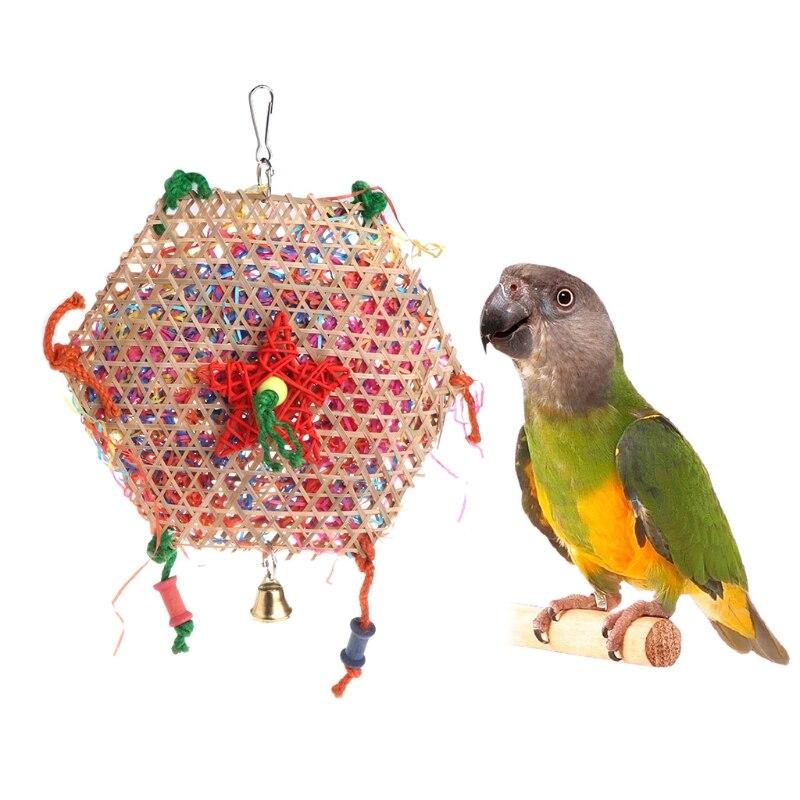Попугай птица бамбука сплетенные Бумага игрушка Белл bite звонкое полосы красочные висит клетка 090