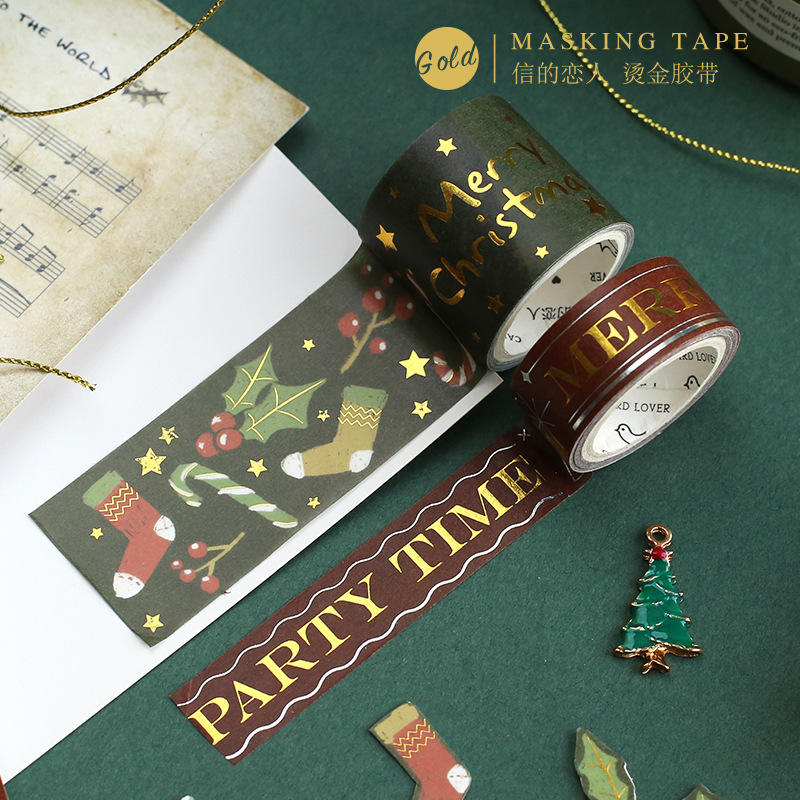 2pcs/lot Christmas Carnival Gilding Decoration Washi Tape Adhesive Tape DIY Scrapbooking Sticker Label Masking Craft Tape
