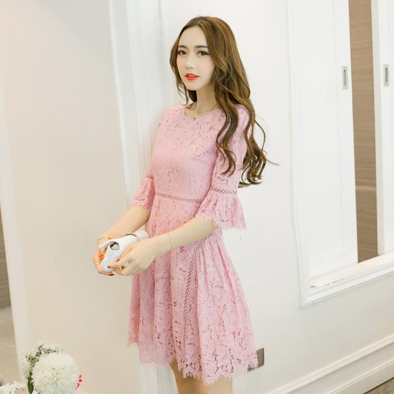 De las mujeres del verano elegante del cordón dress cultivar vestido ...