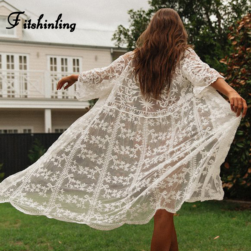 Fitshinling Summer lace beach kimono bikini cover-up swimwear long cardigan transparent sexy hot swimsuits outerwear cover ups