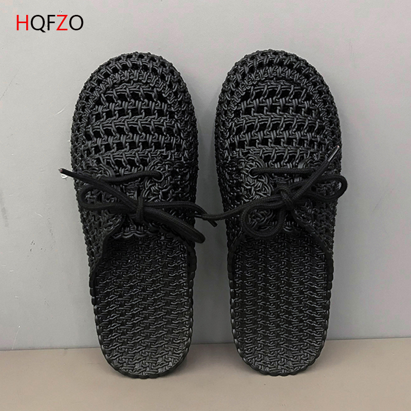 HQFZO Woman Slides Close Toe Slippers Flat Casual Summer Comfortable Woman Hollow Flats Sandals Beach Shoes Flip Flops Black in Slippers from Shoes