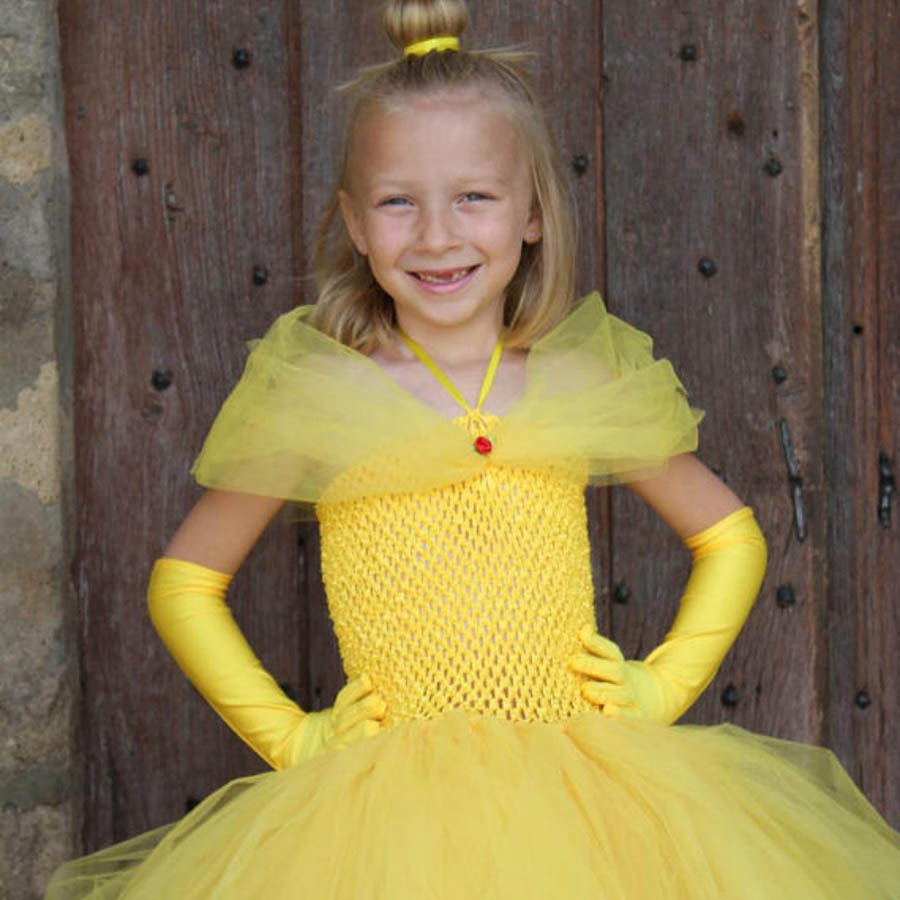 Yellow Princess Belle Tutu Dress The Beauty and the Beast Inspired Girls Birthday Party Dress Kids Photo Cosplay Costumes Vestidos (4)
