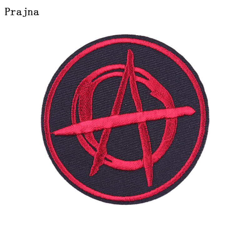 Prajna Rocha Stripes Patch Ferro-on Patches para Roupas DIY Remendo Bordado em Roupas Do Punk Hippie Applique Acessório Do Vestuário F