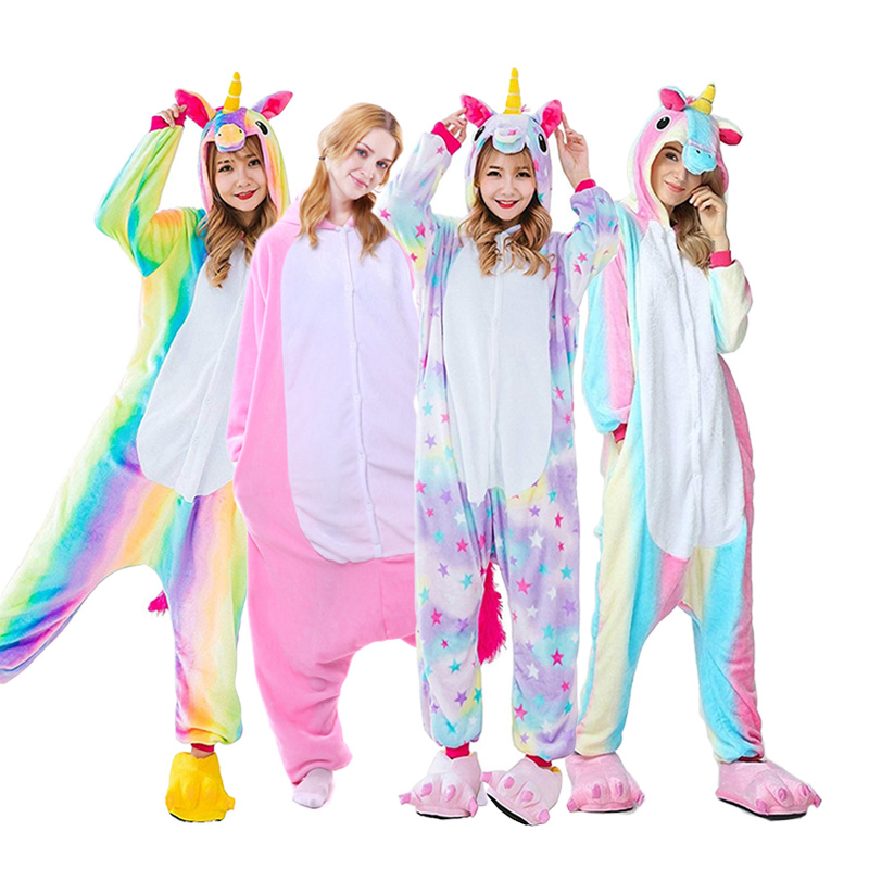 Adults Animal Unicorn Pajamas Set Panda Cartoon Kigurumi Women Men Winter Unisex Flannel Stitch Pajamas Unicornio Sleepwear Underwear & Sleepwears