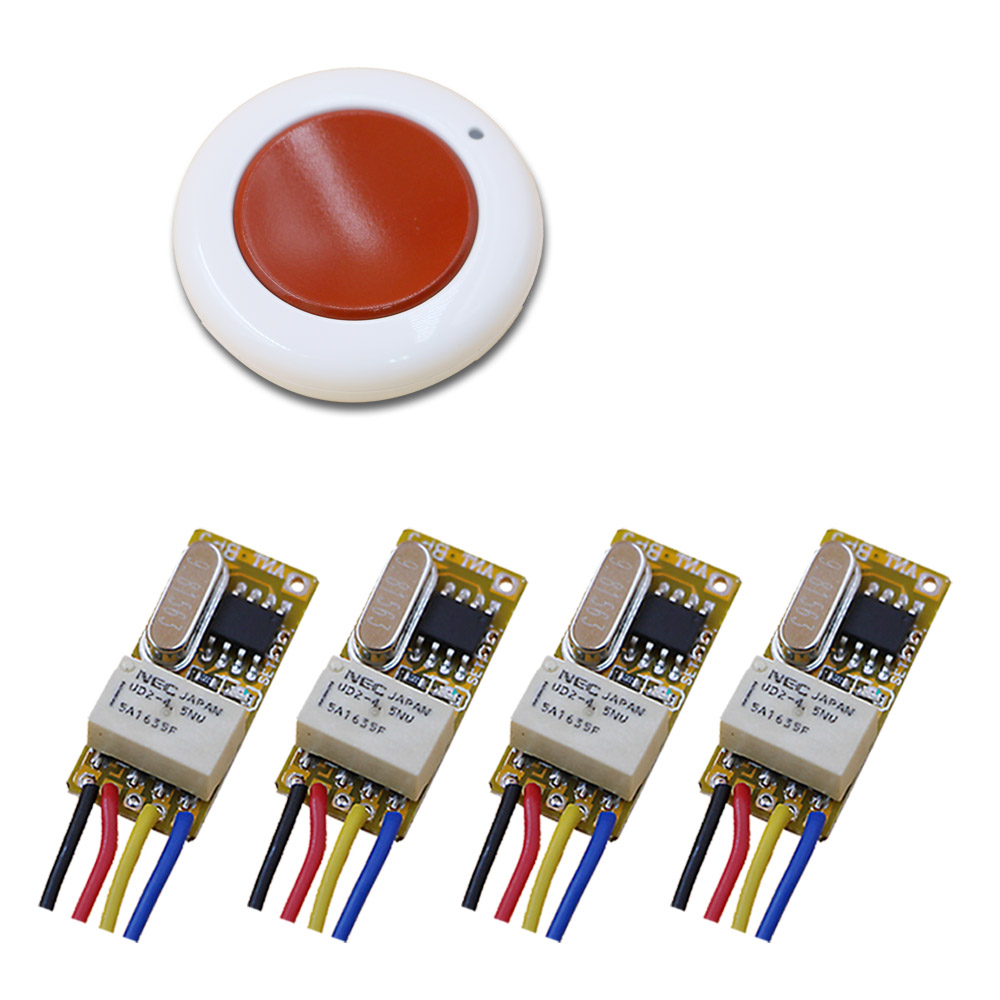Latest Mini Relay Remote Switch DC 3.5V 3.7V 4.2V 5V 6V 7.4V 9V 12V Wall Round Transmitter NO COM NC Contact RF Wireless Switch automatic kettle electric brewing tea stainless steel teapot