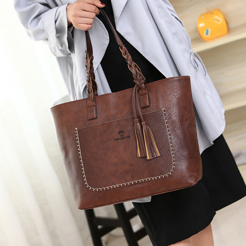 Large Pocket Casual Tassel Tote Bag 2018 Brand Women's Shoulder Handbags Ladies PU Leather Hand Bags For Women tassels pu leather pocket tote bag page 3