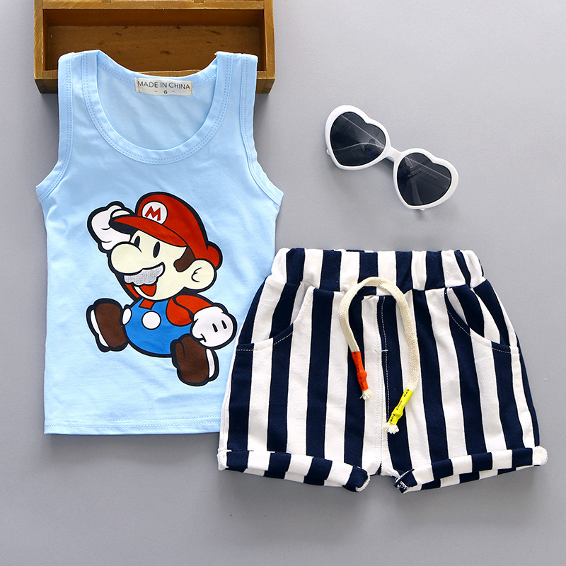 Baby Boy Summer Clothes Children Tracksuits Costume For Girl Cartoon Sleeveless Tops Vest Shorts Kids Bebes Infant Clothing Set