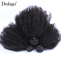Mongolian Afro Kinky Curly Hair Weave Extensions 4B 4C 100% Natural Virgin Human Hair Bundles 3 Pcs Dolago Hair Products