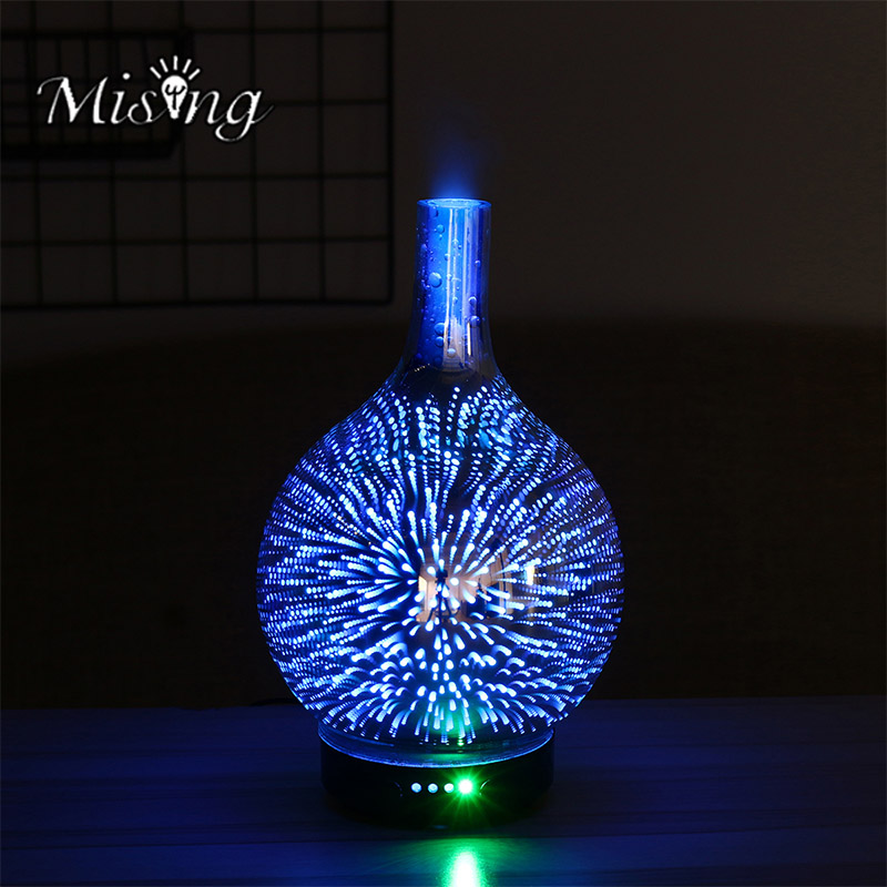 Mising Mosquito Killer Nightlight 3D Glass Fireworks Colorful LED Gradient Color Humidifier Essence Bulb Oil Aromatherapy Light