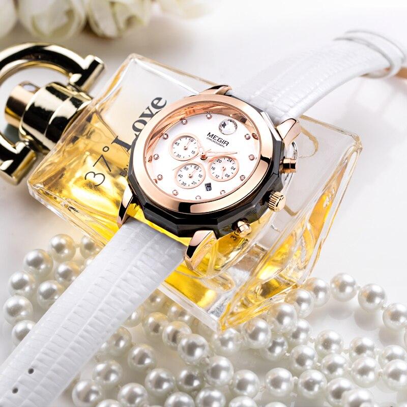 Megir Fashion Red White Watch Prawdziwy skórzany pasek Kobiet - Zegarki damskie - Zdjęcie 5