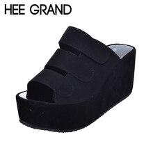 Hee Grand/2017 г. женские туфли без задника Клин Высокая платформа флоковые женские летние шлепанцы открытый носок повседневная однотонная женская обувь XWZ2370
