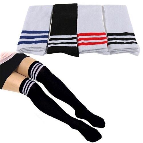 Sıcak satış kadın çizgili uyluk yüksek seksi pamuk Polyester çorap diz üzerinde kız bayan çorabı toptan 4 renkler 1 çift