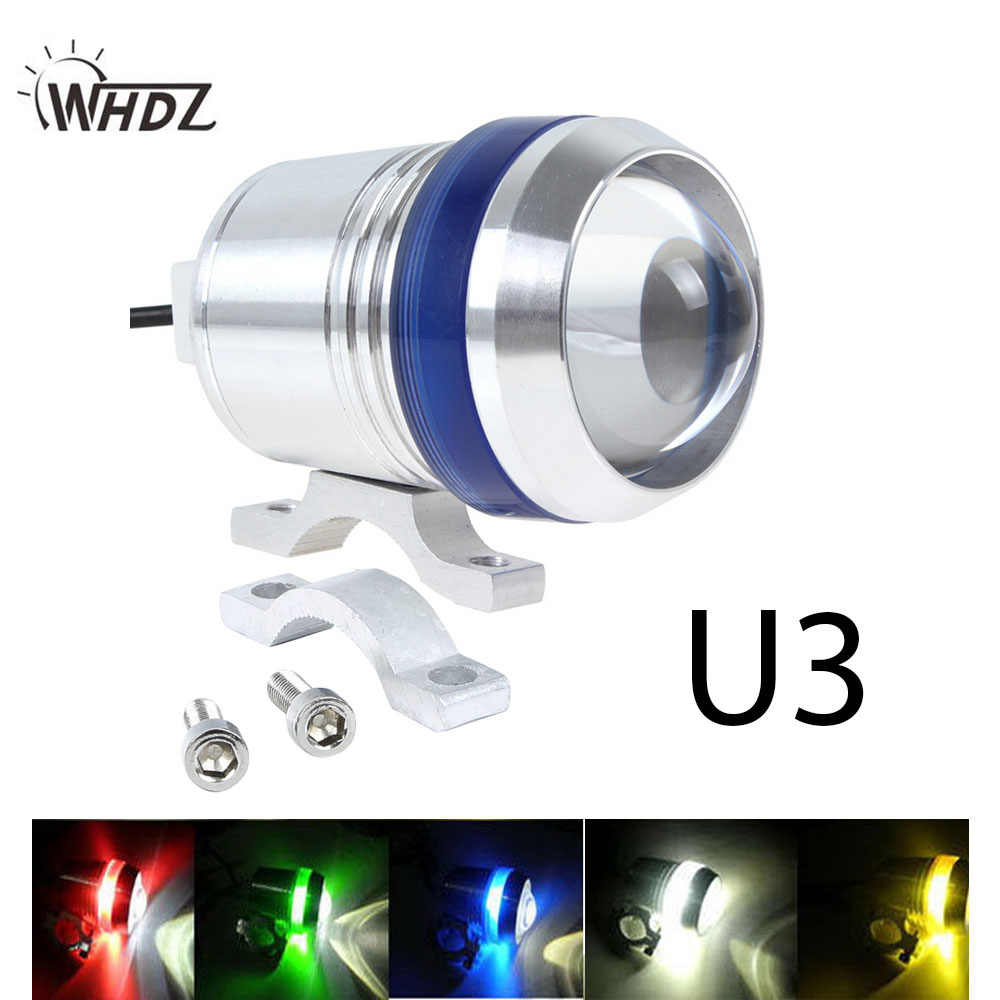 WHDZ 1pc 12V 30W Motorcycle U3 LED Driving Fog Spot Head light Angel Eye Lamp Waterproof U3 Motor Bike Motorcycle Headlight