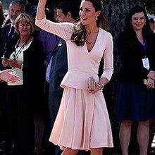 Знаменитостей tapete vestido de festa для вечеринки на красной дорожке платья для особых случаев kate middleton длиной до колена с длинными рукавами вечернее платье