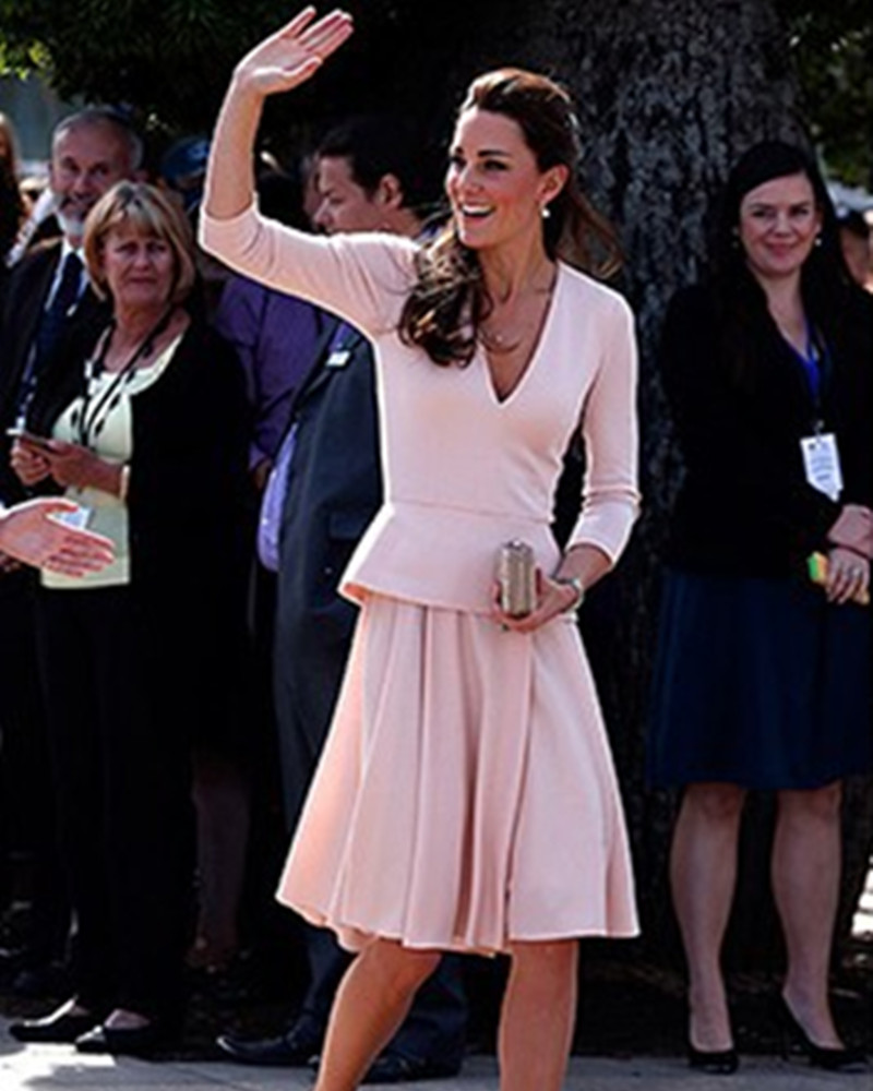 Celebrity Tapete Vestido De Festa Red Carpet Party Gowns Special Occasion Kate Middleton Knee Length Long Sleeves Evening Dress