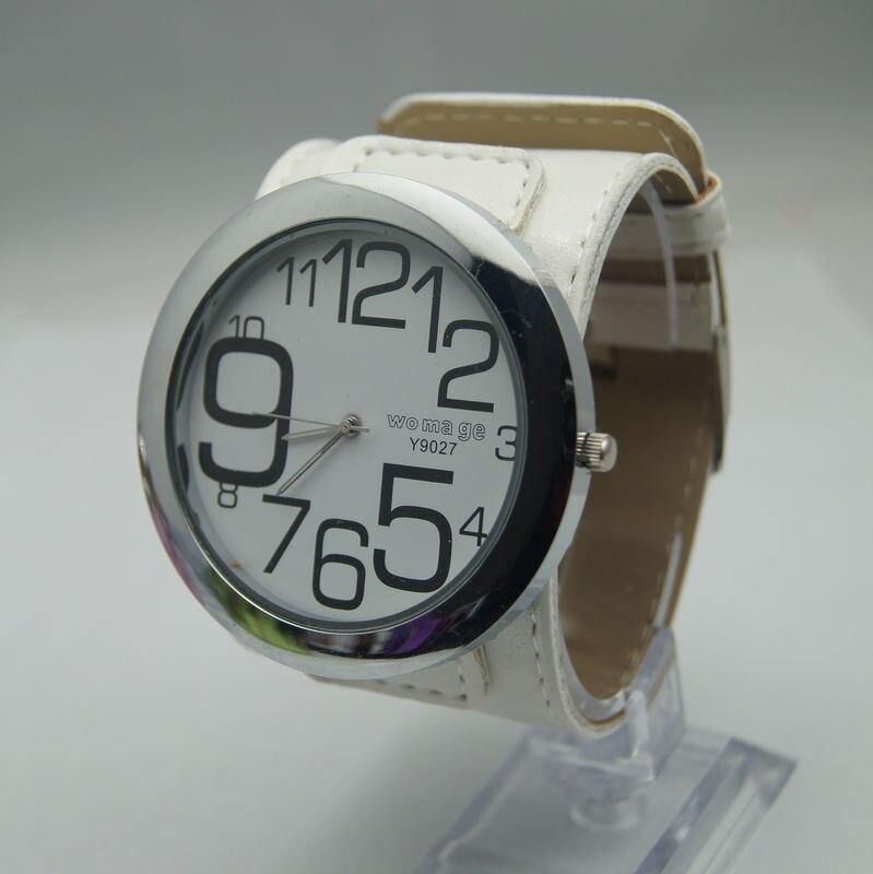 Высококачественные Женские брендовые модные большие часы 8 цветов с кожаным ремешком, военные кварцевые наручные часы с большим круглым циферблатом для женщин и мужчин - Цвет: Белый