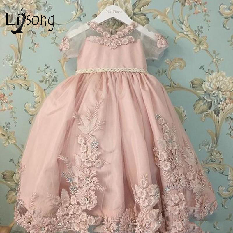 Cute Blush Pink 3D   Flower   Communion   Dresses   2018 Big Cute Bow Pearls Beaded A-line   Flower     Girl     Dresses   Lace Pageant   Dress