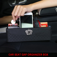 Crystal Crown Car Seat Crevice Storage Box Organizer Auto Gap Pocket Stowing Tidying For Phone Pad Card Coin Case Accessories