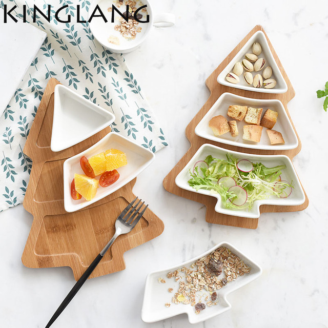 Ceramic bamboo base christmas tree pallet snack tray fruit bowl plate breakfast salad ided bowl with  sc 1 st  AliExpress.com & Ceramic bamboo base christmas tree pallet snack tray fruit bowl ...