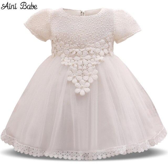 6695f1332148f Aini Bébé Bébé Fleur Blanche Fille Robe De Soirée De Mariage Petit Bébé Un  Anniversaire Outfit
