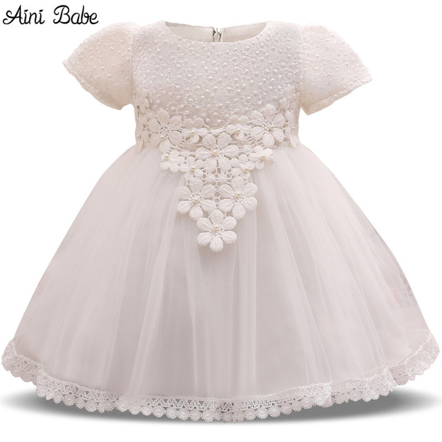 2592545fdb59 Aini Babe Baby White Flower Girl Wedding Party Dress Little Baby One ...