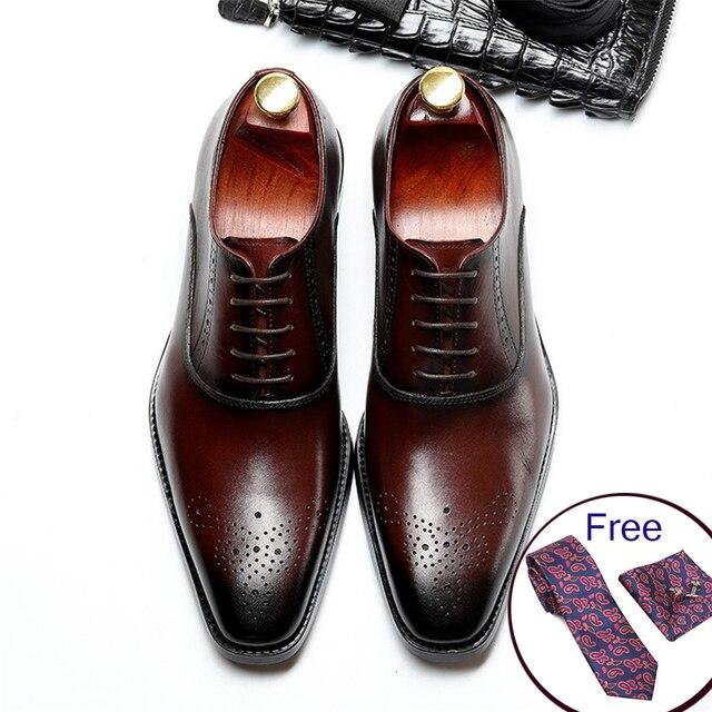 Men Genuine Cow Leather Brogue Wedding Business Mens Casual Flats Shoes 2020 Black Burgundy Vintage Oxford Shoes For Mens Shoe