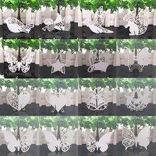 Лазерная резка с белыми бабочками и сердечками Настольный набор