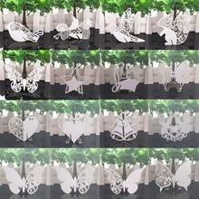 50 adet beyaz kelebek kalp lazer kesim masa Mark şarap bardağı adı yer kartları bebek duş düğün doğum günü partisi DIY süslemeleri