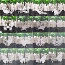 50 stücke Weiß Schmetterling Herz Laser Cut Tabelle Mark Weinglas Name Ort Karten Baby Dusche Hochzeit Geburtstag Party DIY dekorationen