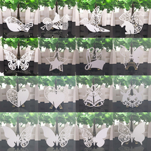 50pcs White Butterfly Heart Laser Cut Table Mark Wine Glass Name Place Cards Baby Shower Wedding Birthday Party DIY Decorations