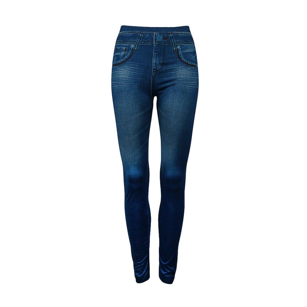 Fake Pockets Women Denim   Jeans   Seamless Sexy Skinny Leggings Stretchy Slim Pants Fashion Elastic Solid Color Leggings For Women