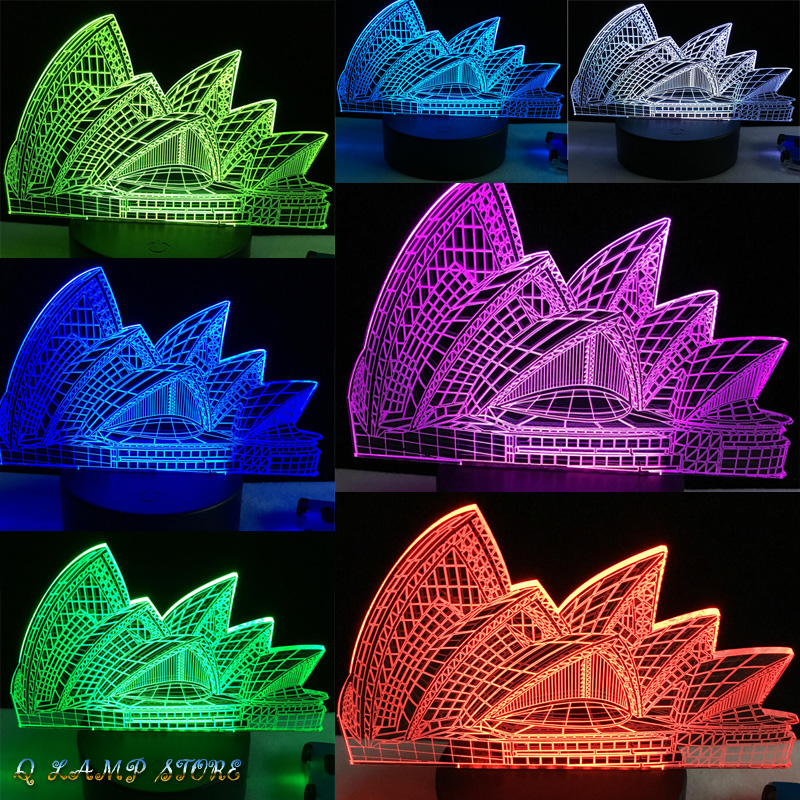 New Sydney Opera House 3D USB LED Lamp 7 Colorful Change Mood Building Design Creative Souvenir Gift Home Decoration Gadget Bulb kehlani sydney