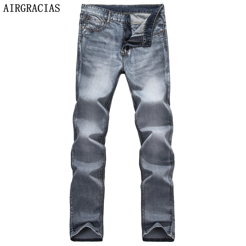 AIRGRACIAS Brand Spring Summer Retro Nostalgia Straight Denim Jeans Men Size 28-40 Casual Men Long Pants Trousers Biker Jean airgracias elasticity jeans men high quality brand denim cotton biker jean regular fit pants trousers size 28 42 black blue