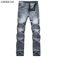 AIRGRACIAS Brand Spring Summer Retro Nostalgia Straight Denim Jeans Men Size 28-40 Casual Men Long Pants Trousers Biker Jean