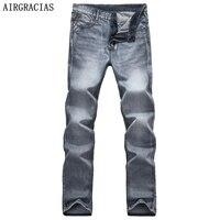 AIRGRACIAS Brand Spring Summer Retro Nostalgia Straight Denim Jeans Men Plus Size 28 38 Casual Men