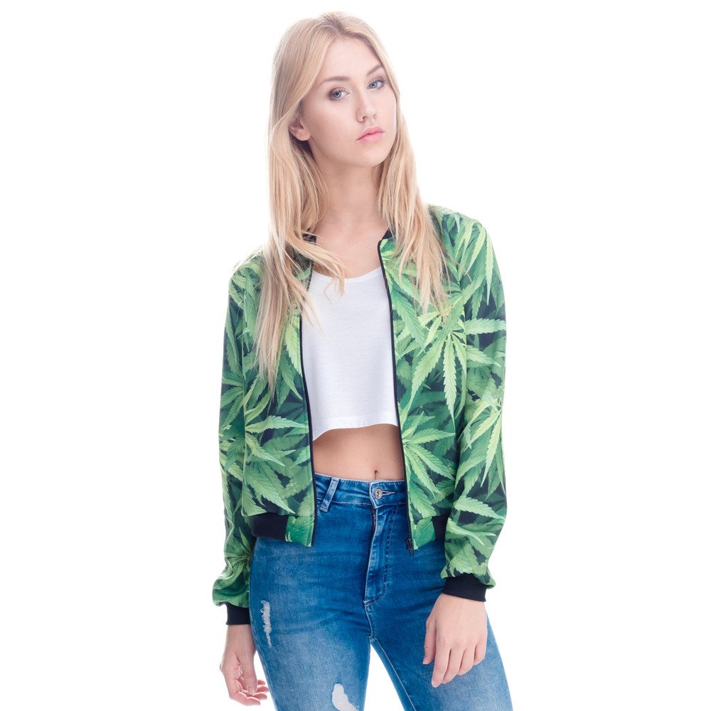 Women Bomber   Jacket   3D Printed Weeds Outwear Long Sleeve Short   Jacket   Coats Casual   Basic     Jackets