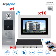 """7"""" Touch Screen WIFI IP Video Door Phone Intercom +POE Switch 10 Floors Building Access Control System Support Password/IC Card"""