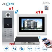 дешево!  7 ' Сенсорный Экран WI-FI IP-видео Домофон Домофон + POE Переключатель 10 Этажей Здание Системы
