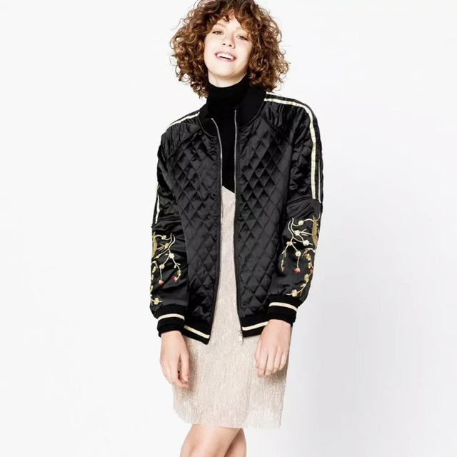 4dc603ac591 Autumn Winter Fashion Luxury Embroidery Quilted Satin Bomber Jacket with  Contrast Hem Lightly Padded Jackets Outwear