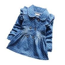 Bibicola/весна-осень детская DENIM куртки для девочек в горошек джинсовые куртки маленькая девочка хлопок лацкан пальто Детская верхняя одежда