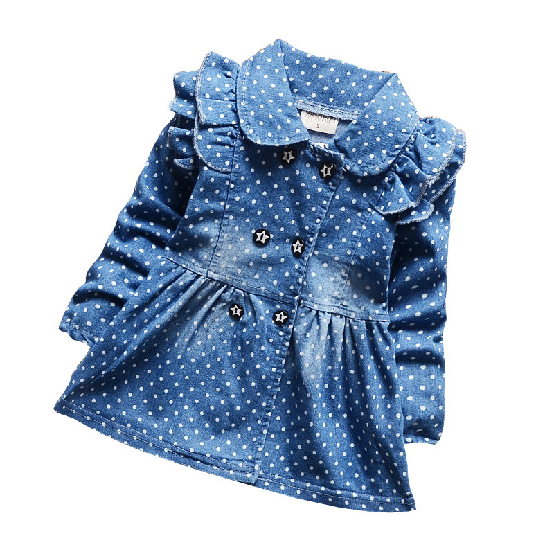 BibiCola spring autumn children's denim jackets for girls polka dots jeans jackets female baby cotton lapel coat kids outerwear men jeans jackets 2018 new fashion streetwear loose fit harajuku denim jackets coat vintage hole ripped jean jackets for mens