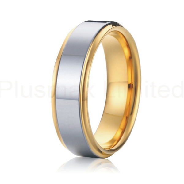 yellow gold color and silver Alliance Jewelry 7mm bicolor pure titanium engagement wedding band rings for men and women